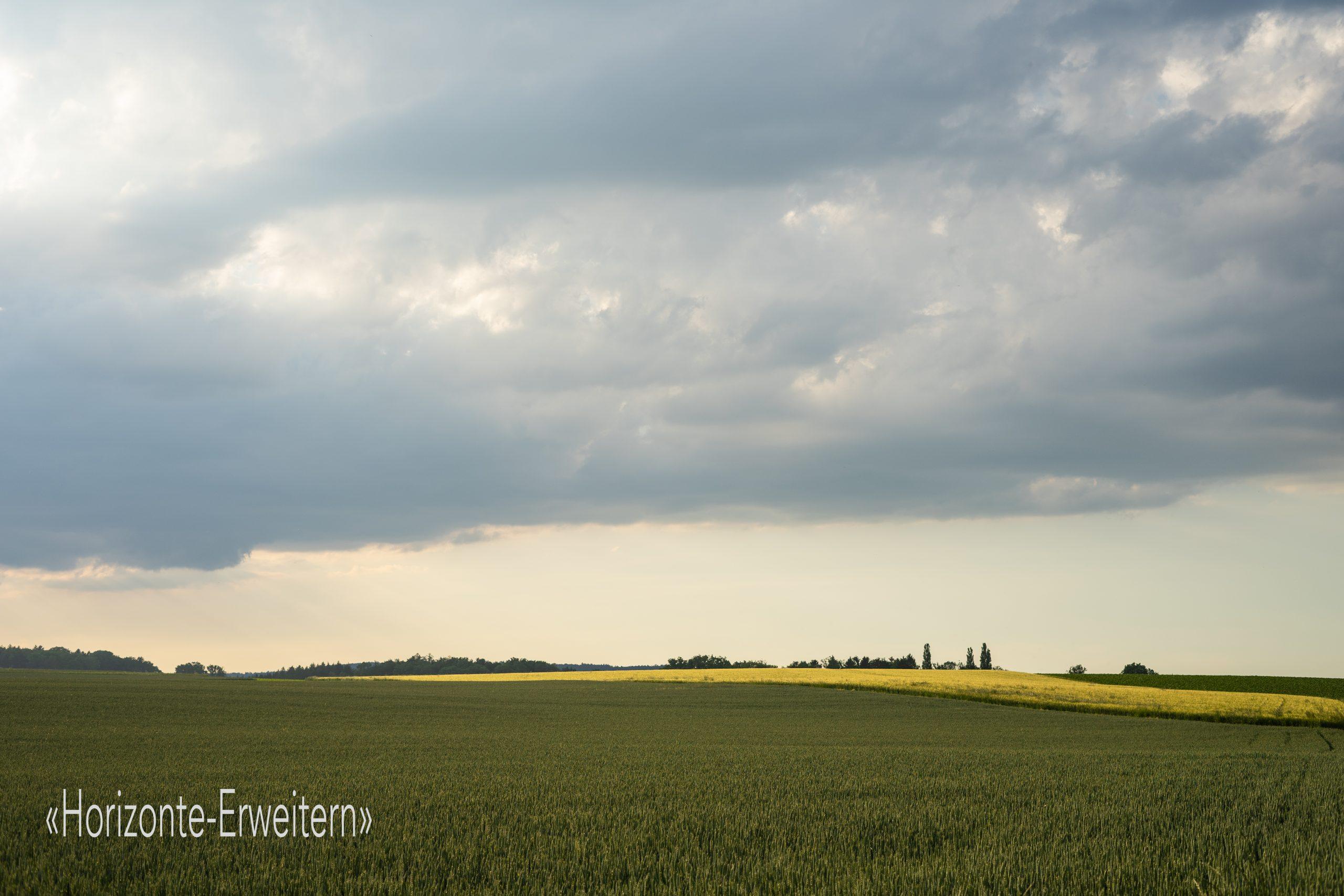 Graue Wolken über gelben und grünen Feldern